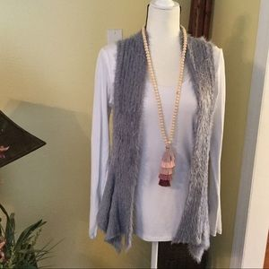 Brand new gray fuzzy cardigan, boutique